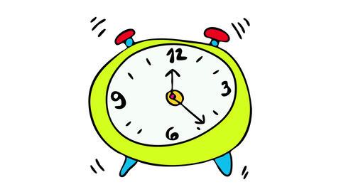 classic analog clock with metal bell ringing early in the morning marking the time to wake up Animation