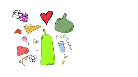 sketchy elements of picnic in paris isolated to side of card with drawings of cheese glasses wine Animation
