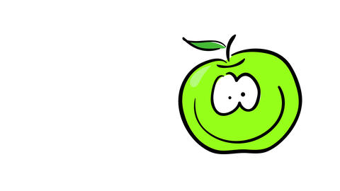 ripe green apple full of vitamins feeling happy and active representing freshness and health of Animation