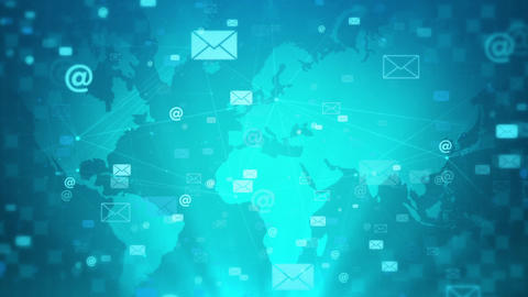 Mail icon digital network connected blue dots map blue background Animation