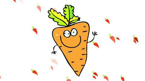 carrot harvest representing gardening activity in summer or a leisure activity on an outdoors garden Animation