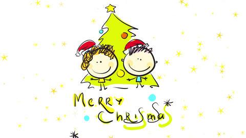 childhood seasonal scene on christmas night with kids decorating a christmas tree with garlands Animation