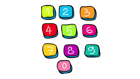 keyboard numbers close up with each number painted with a different bright color representing an Animation