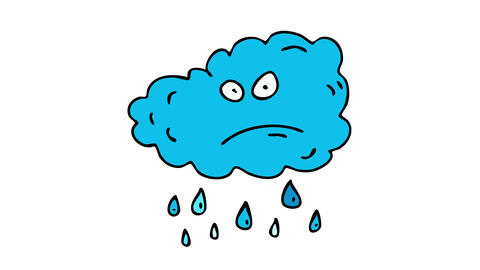 angry blue cloud annoyed to be so sad and creating rain for passersby making them uncomfortable Animation