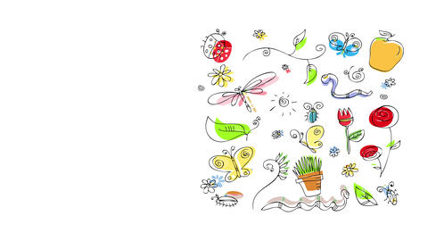 group of flying and earthly insects worms flowers and sprigs set up on a square creating a pattern Animation