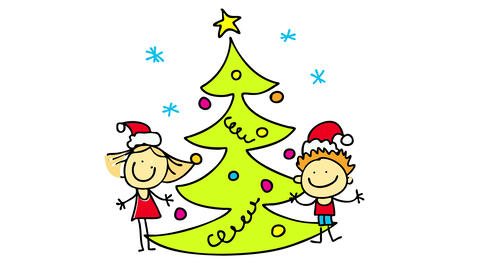 december traditional moment of decorating the christmas tree at home with a boy and a girl putting Animation