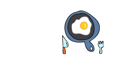 morning meal with an egg frying on a pan suggesting it is homemade food by a young adult with little Animation