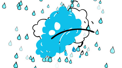 strong weather created by a rain storm formed by an angry cloud annoyed with humans that keep Animation