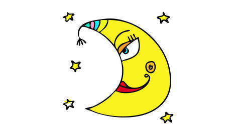 crescent moon art with feminine face and red smile with cute dimple and rainbow design on one Animation