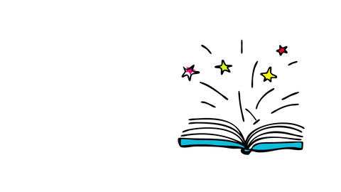 mystery literature book with stars sparkling like fireworks when open representing the fairy tales Animation