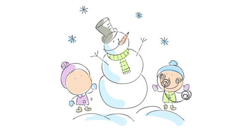 happy young boy and girl making a snowman with carrot nose wearing long classic hat a scarf and Animation