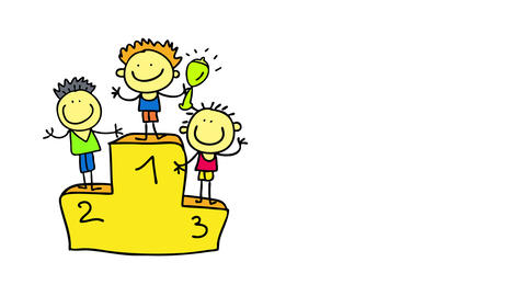 three boys after a sports competition standing in each number of a podium with the winner lifting a Animation