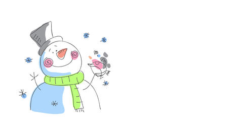 christmas card front cover with adorable snowman letting a bird pose on one of its branch arms with Animation
