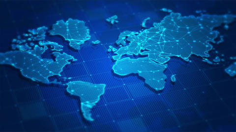 World map digital concept,Business networking background Animation