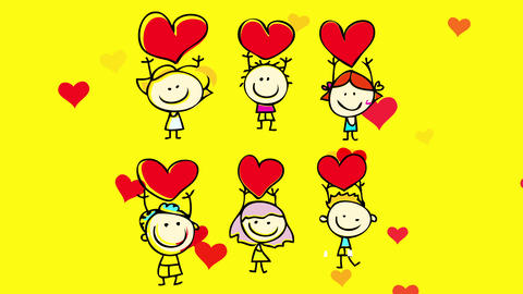 group of old friends holding red hearts on isolated background suggesting that they are sharing Animation