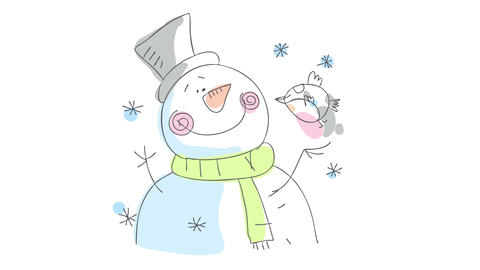 close up of a snowmans head with a sweet expression of happiness contemplating a cute bird standing Animation
