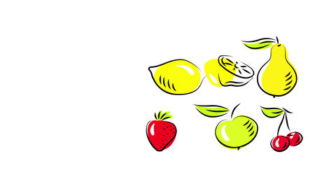vibrant organic fruits gathered to one side suggesting they will be used to make sweet exotic Animation
