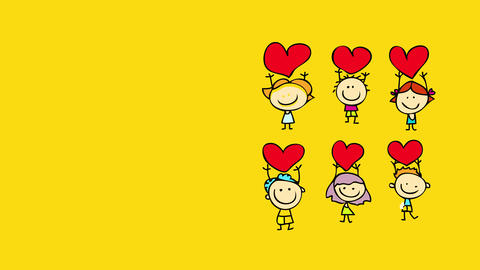 happy people reunited for a special occasion to celebrate valentines day giving red hearts to each Animation