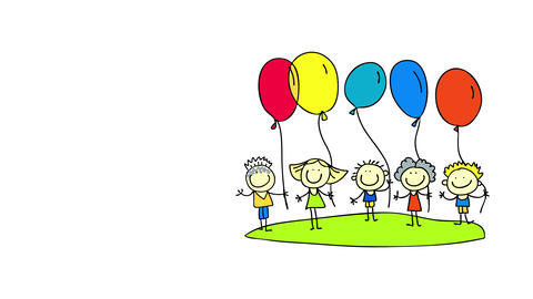 joyful adolescents organising to play a game on a fun birthday party holding balloons inflated with Animation