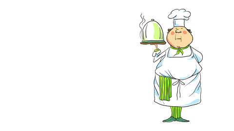 fancy chef honored to present his most special dish holding it in one hand suggesting he works at a Animation