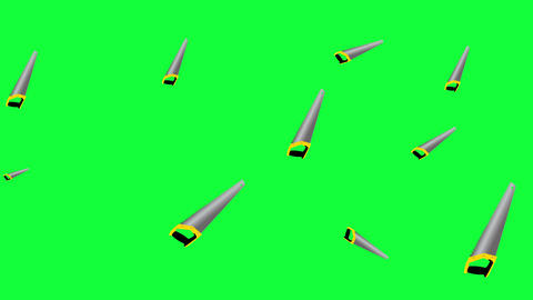 Working hacksaw tools elements animation on green screen chroma key Animation