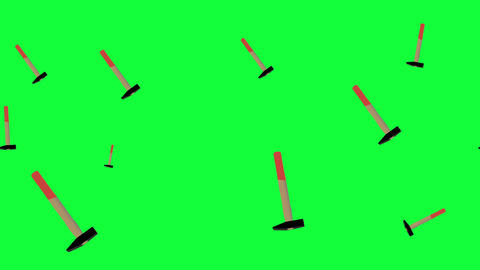 Working hammer tools elements animation on green screen chroma key seamless loop Animation