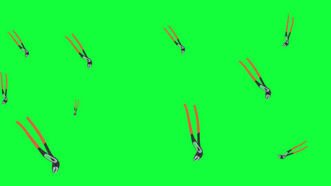 Working pliers tools elements animation on green screen chroma key, seamless loop Animation