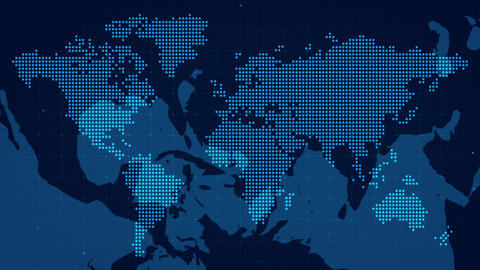 Blue World Map Dots Animate Corporate Business Background Animation