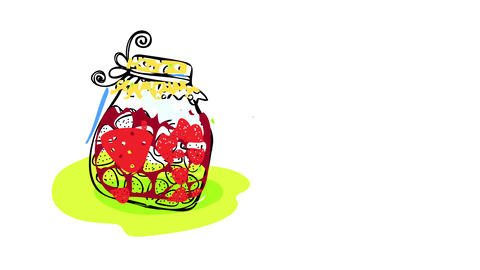 appetizing strawberry jam on rustic homemade style jar with delicious berries floating inside on red Animation