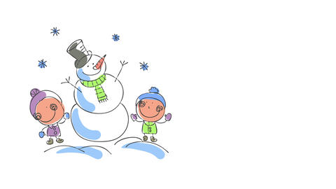 young brother and sister posing besides a tall snowman they just made suggesting they are experts Animation