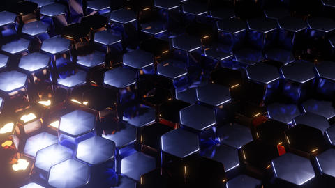 fast moving metali hexagon grid dj loop music background 3d rendering in 4k uhd Animation