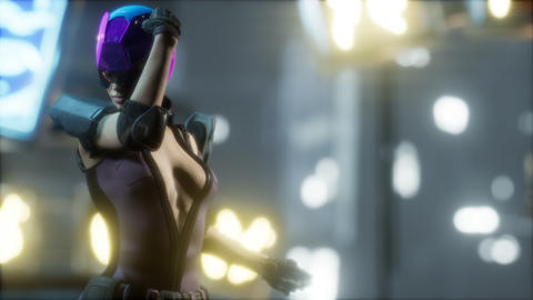Future woman cyberpunk concept with neon city lights Live Action