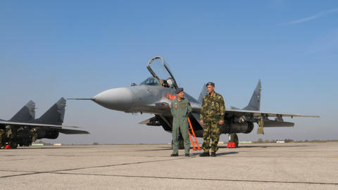 Military Fighter Jet Pilot and Specialist and a MiG 29 Fulcrum Combat Aircrafts Live Action