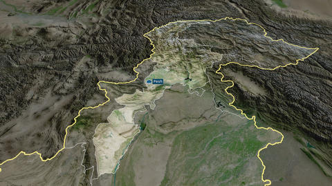 N.W.F.P. - province of Pakistan. Satellite Animation