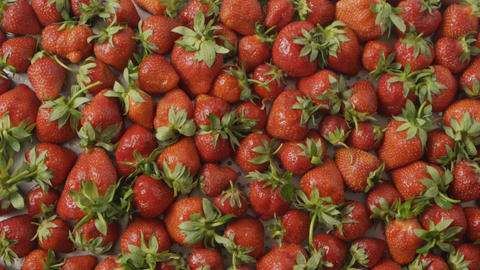 Red ripe juicy strawberry slow falls one by one on a tray with berries made of Live Action