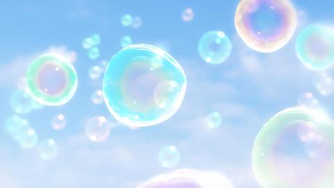 ゆっくり漂うシャボン玉のイメージ-空背景/パン CG動画