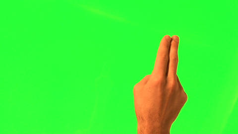 12 touchscreen gestures - male hand - green screen Footage