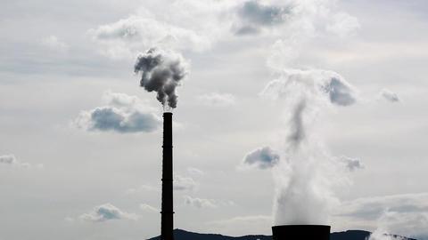 Power Plant Smokestacks Smoking Heavy White Smoke on the Sky Footage