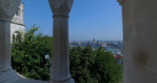 View of the Hungarian Parliament and Danube river from the Fisherman´s Bastion. Footage