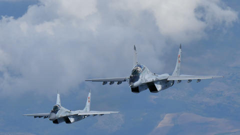 Combat Aircrafts of Cold War in Flight. MiG29 Air to Air Ultra High Definition Live Action