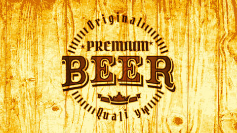 premium beer brewery pub ad with retro elements on burned wood background for industrial alcohol CG動画