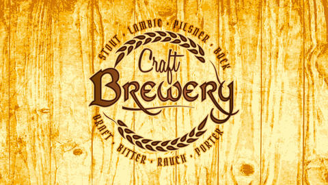classic craft brewery beer art with pyrography style text and symbol on golden wooden texture CG動画