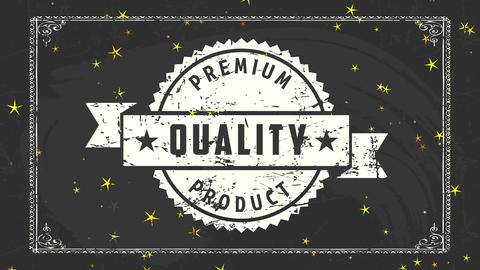 stars on classical branding for premium quality product drawn on a black chalkboard selling Animation