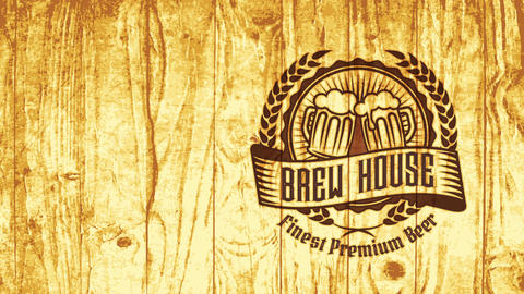 brew home nightclub mark for finest fancy brew with classic component on wood with pyrography style CG動画