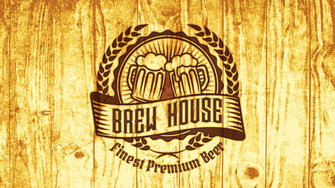 brew house pub sign for finest premium beer with vintage elements on wood with pyrography style CG動画