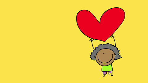 cheerful black teenager girl with cool afro valentine showing a heart shape paper cut suggesting she Animation