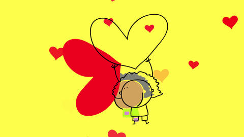 little afro girl lifting up red heart in sign of love and respect for race and partner choice CG動画