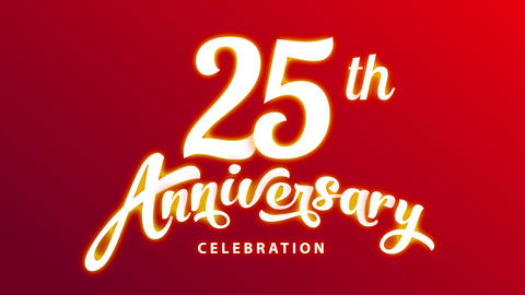 colour weddings celebration 25 years union celebration ceremonial art with white calligraphy on red Animation