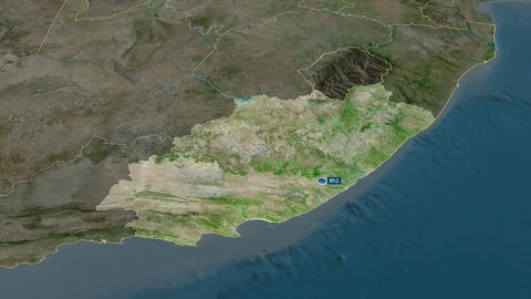 Eastern Cape - province of South-Africa. Satellite Animation