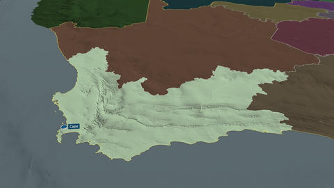 Western Cape - province of South-Africa. Administrative Animation